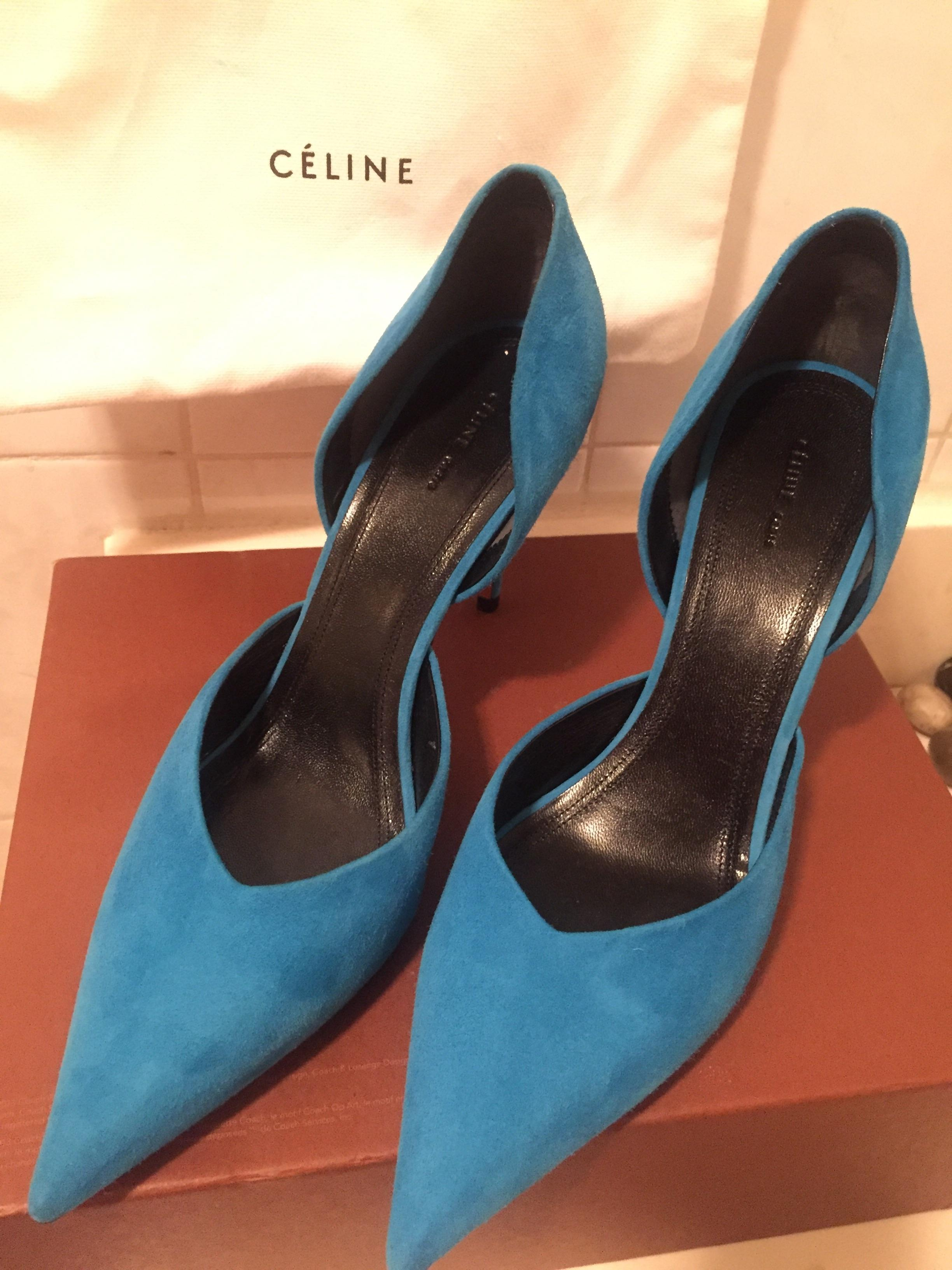 Céline Suede D'Orsay Pumps under $60 cheap online discount low shipping fee get authentic for sale free shipping really official site DVmuo26WNf