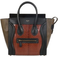 Céline Celine Luggage Micro Tote in Rust Brown Python
