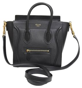Cline Celine Nano Luggage Leather Tote in Black