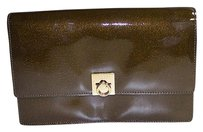 Céline Gold Patent Leather Sheffiled Nwd Brown Clutch