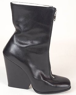 Céline Leather Front Zip Up Square Toe Wedge Ankle Black Boots
