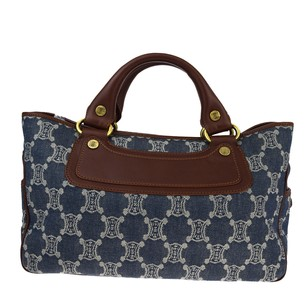 Céline Hand Leather Tote in Blue