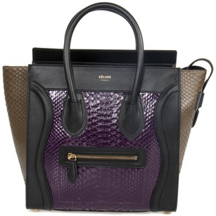 Céline Leather Classic Calfskin Tote in Purple and Taupe Python