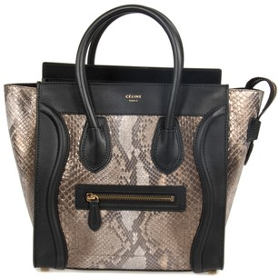 Céline Micro Black Tote in Natural Python
