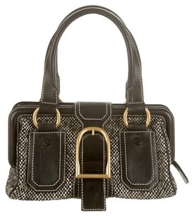 Céline Tweed Doctor Leather Contrast Satchel in Black, White