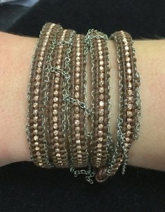 Chan Luu Chan Luu 34 Wrap Bracelet Brown Leather Silver Chains Silver Crystals Beads