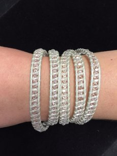 Chan Luu Chan Luu 34 Wrap Bracelet Silver Leather Clear Crystal Beads .925 Clasp
