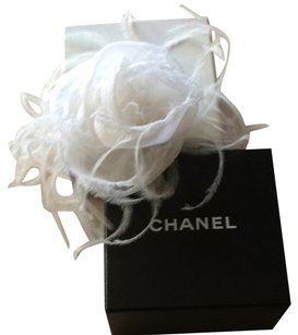 Chanel Chanel White Feather Camelia Pin