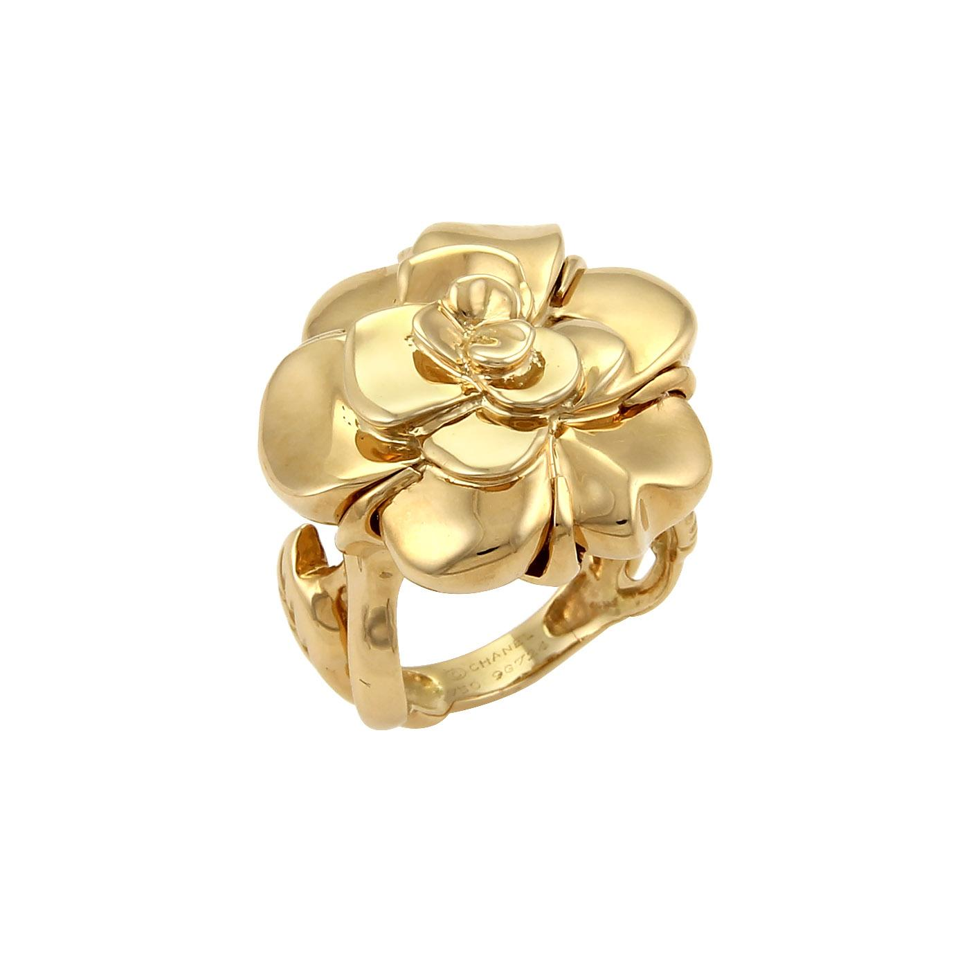 chanel camellia u0026 leaves 18k yellow gold ring