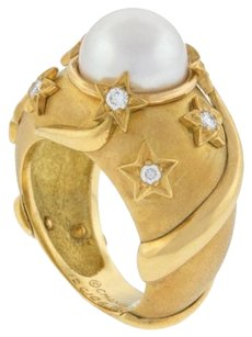 Chanel Chanel,Stars,Pearl,And,Diamond,18k,Yellow,Gold,Ladies,Designer,Ring