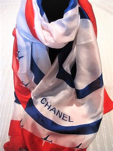 Chanel Airport Theme Red-Blue Chanel Silk Scarf Shawl