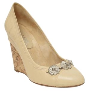 Chanel Womens Leather Silver Accent High Heel Wedge Pump Beige Platforms