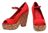 Chanel Satin Quilted Cork Red Platforms