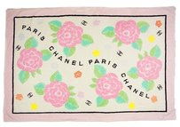 Chanel Auth CHANEL Camellia Flower Design Beach Mat Towel Cotton Pink F/S 9822eRN