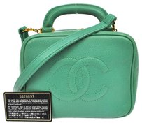 Chanel Auth CHANEL CC 2way Cosmetic Hand Bag LGR Caviar Leather Vintage Italy LP12173
