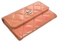 Chanel Auth CHANEL CC Quilted Card Case Wallet Purse Pink Patent Leather Vintage F00595
