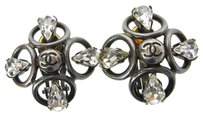 Chanel Auth CHANEL CC Rhinestone Earrings Clip-On Silver Plated 96P Accessory 61D727