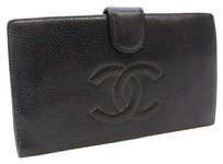 Chanel Auth CHANEL Coin Purse with a Metal Snap Frame Bifold Long Wallet Black 10084540