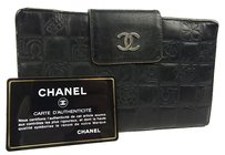 Chanel Auth CHANEL Icon CC Logos Leather Bifold Wallet Purse Black F/S 9815eRN