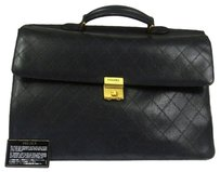 Chanel Auth CHANEL Jumbo Quilted Briefcase Hand Bag Black Caviar Skin Vintage LP11857