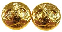 Chanel Auth CHANEL Vintage CC Logos Button Earrings Gold Clip-On 94P France AK00878