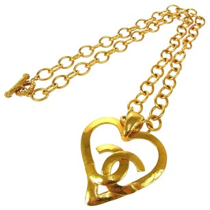 Chanel Auth CHANEL Vintage CC Logos Gold Chain Heart Charm Necklace 95P France LP10362