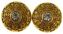 Chanel Auth CHANEL Vintage CC Logos Rhinestone Earrings Gold Clip-On France LP14978