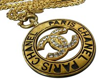 Chanel Auth CHANEL Vintage CC Rhinestone Chain Necklace Gold F/S 9911eRN
