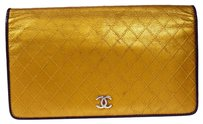 Chanel Authentic CHANEL CC Long Bifold Wallet Purse Leather Gold Italy Vintage 05H446