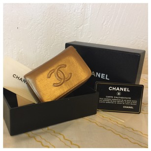 Chanel Authentic CHANEL Coin purse case Gold Leather CC 2014