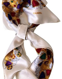 Chanel Authentic CHANEL. Jewelry & Logo CC Silk 100% Scarf 85cm 85cm Still Good & Nice Condition