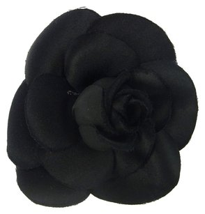 Chanel Authentic CHANEL Logos Camellia Brooch Corsage Canvas Black Accessories 07D833