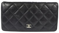 Chanel Authentic CHANEL Quilted Long Bifold Wallet Purse Leather Black Vintage 62C414