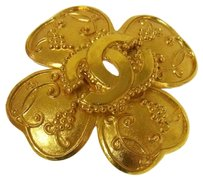 Chanel Authentic CHANEL Vintage CC Logos Brooch Gold-Tone France Accessories LP12508