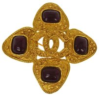Chanel AUTHENTIC CHANEL VINTAGE CC LOGOS BROOCH PIN GOLD-TONE CORSAGE FRANCE AK03066