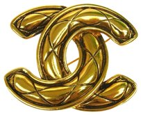 Chanel Authentic CHANEL Vintage CC Logos Brooch Pin Gold-Tone Corsage France E06195e