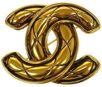 Chanel Authentic CHANEL Vintage CC Logos Brooch Pin Gold-Tone Corsage France LP03246