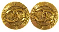 Chanel Authentic CHANEL Vintage CC Logos Gold-Tone Button Earrings Clip-On AK04443