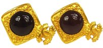 Chanel AUTHENTIC CHANEL VINTAGE CC LOGOS GOLD-TONE EARRINGS CLIP-ON 96A FRANCE E06274
