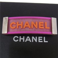 Chanel AUTHENTIC CHANEL VINTAGE CC LOGOS HAIR BARRETTE PINK FRANCE ACCESSORIES W26707