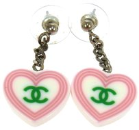 Chanel Authentic CHANEL Vintage CC Logos Heart Motif Pierce White Plastic LP09263