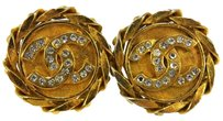 Chanel AUTHENTIC CHANEL VINTAGE CC LOGOS RHINESTONE EARRINGS CLIP-ON 23 FRANCE RK06904