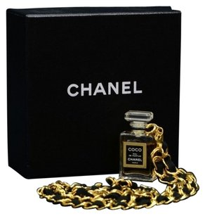 Chanel Authentic COCO CHANEL Gold Chain Perfume bottle Pendant Necklace