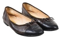 Chanel Black Lambskin Brown Flats