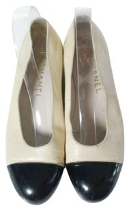 Chanel Ballet Pumps Cap Toe Beige and Black Flats