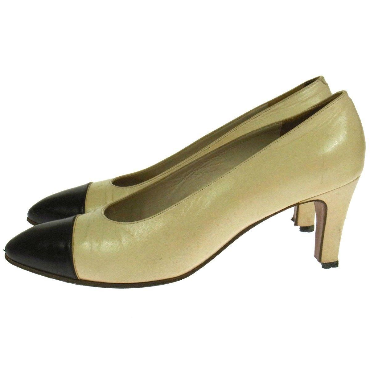 CHANEL Cap Toe Pumps, Size: 7, Used
