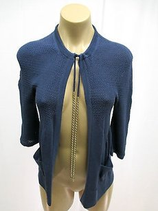 Chanel Cotton Short Sleeve Wgold Rope Chain At Neck Blue Jacket