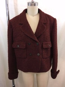 Chanel Boutique Wool Mohair Crop Boucle Burgundy Jacket