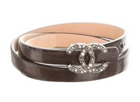 Chanel Brown patent leather Chanel silver-tone interlocking CC logo belt S