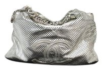 Chanel Calfskin Silver Shoulder Bag